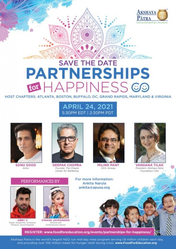 Akshaya Patra USA Partnerships For Happiness Virtual Gala