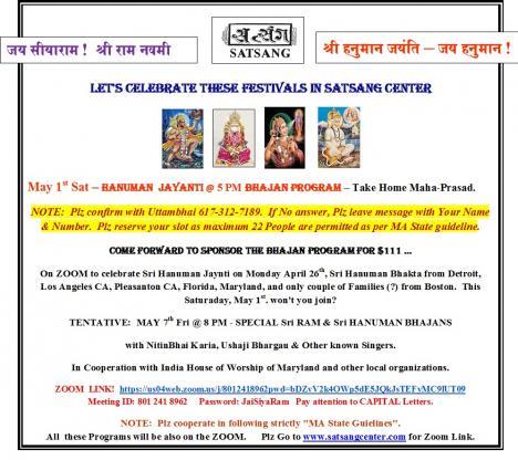 Satsang Center Celebrates Hanuman Jayanti
