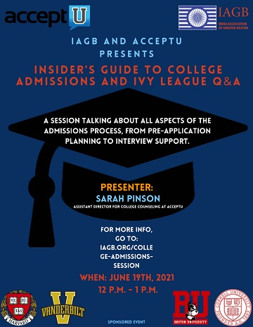 IAGB And AcceptU Present An Insider's Guide To College Admissions