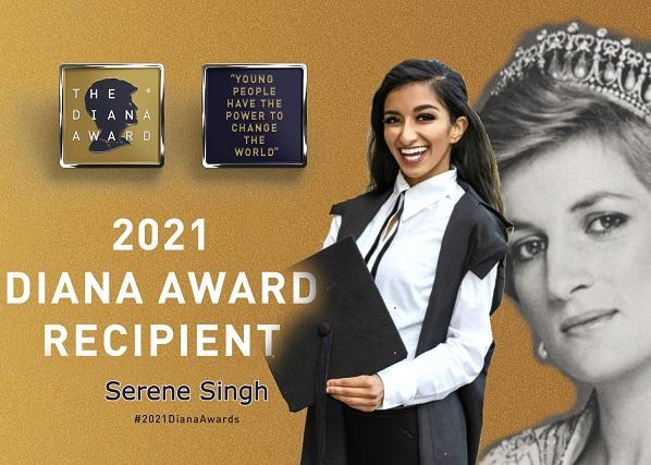 Serene Singh At Oxford University Wins A Global Award In Memory Of Princess Diana