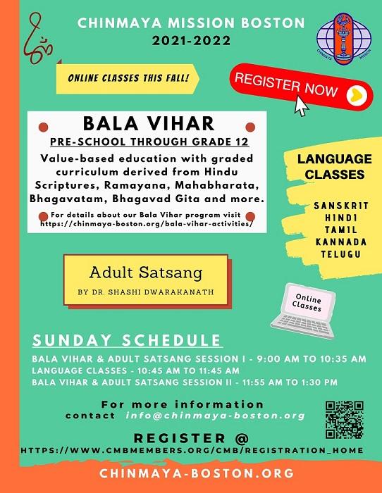 Chinmaya Mission Boston - Bala Vihar Registration Information For 2021-22