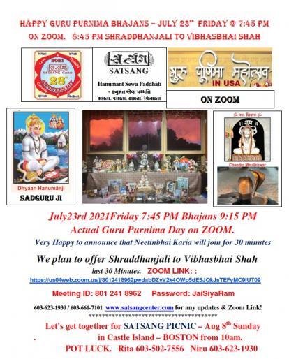 Satsang Center: Guru Purnima Bhajans