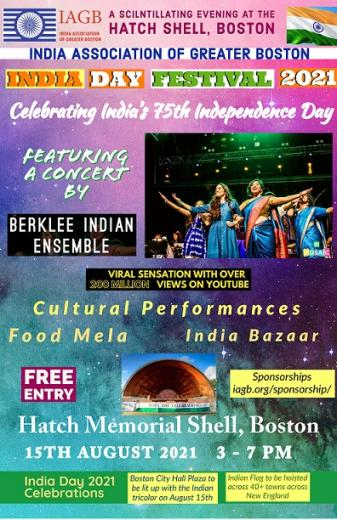 IAGB To Stage Berklee Indian Ensemble Live Concert At India Day Festival 2021<br>Hoist The Indian Tricolor Across 40+ Towns In New England