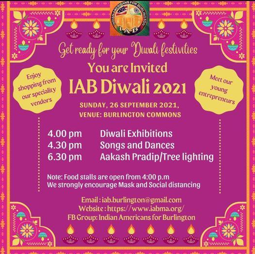 IAB Diwali 2021 Celebration At The Burlington Town Common