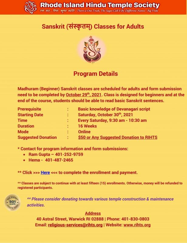 RIHTS:Sanskit Classes For Adults